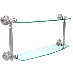 Waverly Place Collection 18 Inch Two Tiered Glass Shelf, Polished Chrome
