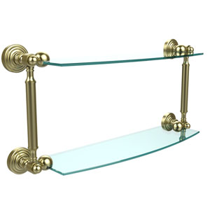 Waverly Place Collection 18 Inch Two Tiered Glass Shelf, Satin Brass