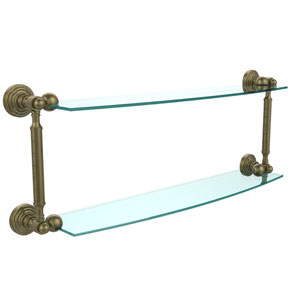 Waverly Place Collection 24 Inch Two Tiered Glass Shelf, Antique Brass