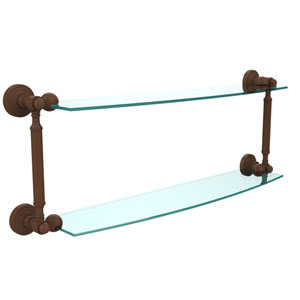 Waverly Place Collection 24 Inch Two Tiered Glass Shelf, Antique Bronze