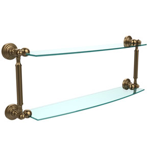 Waverly Place Collection 24 Inch Two Tiered Glass Shelf, Brushed Bronze