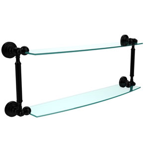 Waverly Place Collection 24 Inch Two Tiered Glass Shelf, Matte Black