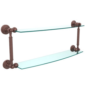 Waverly Place Collection 24 Inch Two Tiered Glass Shelf, Antique Copper