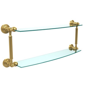 Waverly Place Collection 24 Inch Two Tiered Glass Shelf, Polished Brass