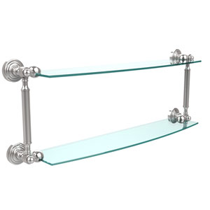 Waverly Place Collection 24 Inch Two Tiered Glass Shelf, Polished Chrome