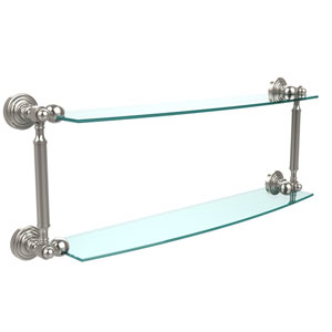 Waverly Place Collection 24 Inch Two Tiered Glass Shelf, Polished Nickel