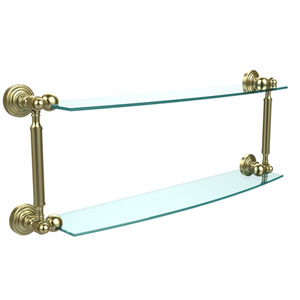 Waverly Place Collection 24 Inch Two Tiered Glass Shelf, Satin Brass