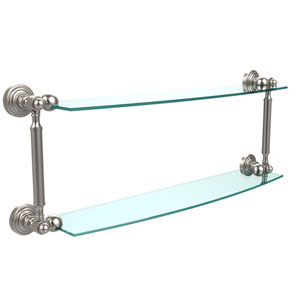Waverly Place Collection 24 Inch Two Tiered Glass Shelf, Satin Nickel