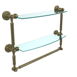 Waverly Place Collection 18 Inch Two Tiered Glass Shelf with Integrated Towel Bar, Antique Brass