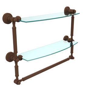 Waverly Place Collection 18 Inch Two Tiered Glass Shelf with Integrated Towel Bar, Antique Bronze