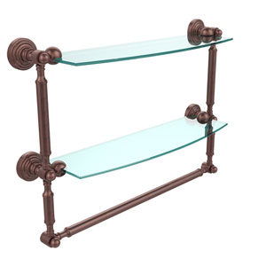 Waverly Place Collection 18 Inch Two Tiered Glass Shelf with Integrated Towel Bar, Antique Copper