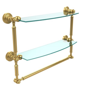 Waverly Place Collection 18 Inch Two Tiered Glass Shelf with Integrated Towel Bar, Polished Brass