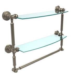 Waverly Place Collection 18 Inch Two Tiered Glass Shelf with Integrated Towel Bar, Antique Pewter