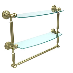 Waverly Place Collection 18 Inch Two Tiered Glass Shelf with Integrated Towel Bar, Satin Brass