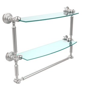 Waverly Place Collection 18 Inch Two Tiered Glass Shelf with Integrated Towel Bar, Satin Chrome