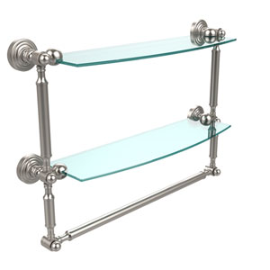 Waverly Place Collection 18 Inch Two Tiered Glass Shelf with Integrated Towel Bar, Satin Nickel