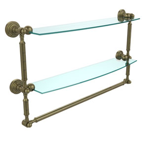 Waverly Place Collection 24 Inch Two Tiered Glass Shelf with Integrated Towel Bar, Antique Brass