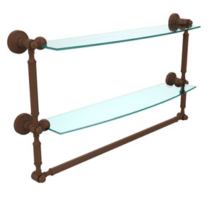 Waverly Place Collection 24 Inch Two Tiered Glass Shelf with Integrated Towel Bar, Antique Bronze