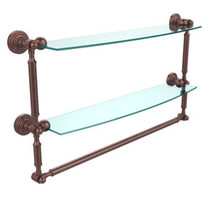 Waverly Place Collection 24 Inch Two Tiered Glass Shelf with Integrated Towel Bar, Antique Copper