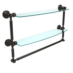 Waverly Place Collection 24 Inch Two Tiered Glass Shelf with Integrated Towel Bar, Oil Rubbed Bronze