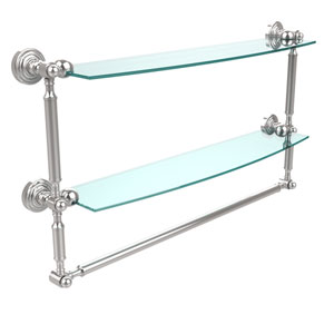 Waverly Place Collection 24 Inch Two Tiered Glass Shelf with Integrated Towel Bar, Polished Chrome