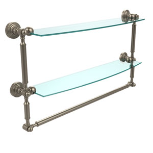 Waverly Place Collection 24 Inch Two Tiered Glass Shelf with Integrated Towel Bar, Antique Pewter