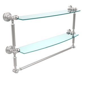 Waverly Place Collection 24 Inch Two Tiered Glass Shelf with Integrated Towel Bar, Satin Chrome