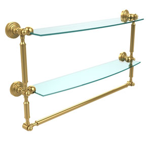 Waverly Place Collection 24 Inch Two Tiered Glass Shelf with Integrated Towel Bar, Unlacquered Brass