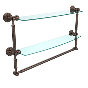 Waverly Place Collection 24 Inch Two Tiered Glass Shelf with Integrated Towel Bar, Venetian Bronze