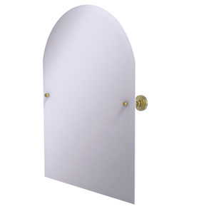 Frameless Arched Top Tilt Mirror with Beveled Edge, Satin Brass