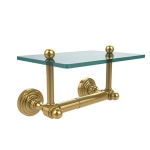 Waverly Place Collection Two Post Toilet Tissue Holder with Glass Shelf, Unlacquered Brass