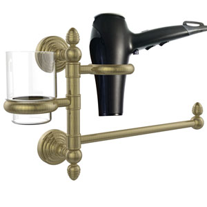 Waverly Place Collection Hair Dryer Holder and Organizer, Antique Brass