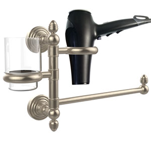 Waverly Place Collection Hair Dryer Holder and Organizer, Antique Pewter