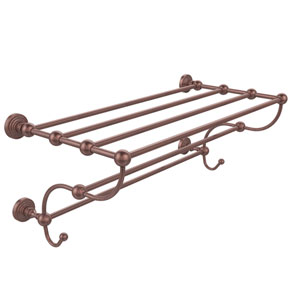 Waverly Place Collection 36 Inch Train Rack Towel Shelf, Antique Copper
