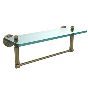 Waverly Place Antique Brass 16x5 Glass Shelf w/ Towel Bar
