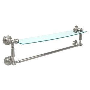 Waverly Place Polished Nickel 24 Inchx5 Inch Glass Shelf w/Towel Bar