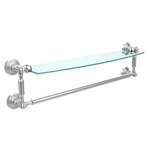 Waverly Place Satin Chrome 24 Inchx5 Inch Glass Shelf w/Towel Bar
