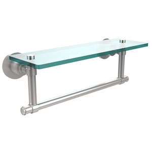 Satin Chrome Single Shelf with Towel Bar