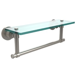 Satin Nickel Single Shelf with Towel Bar
