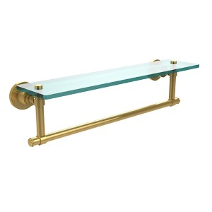 Polished Brass Single Shelf with Towel Bar