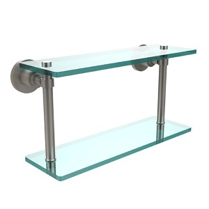 Satin Nickel 16-Inch Double Shelf