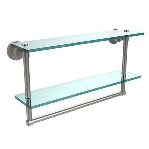 Satin Nickel Double Shelf with Towel Bar