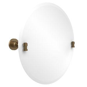 Frameless Round Tilt Mirror with Beveled Edge, Brushed Bronze