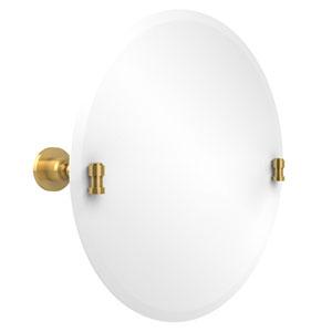 Frameless Round Tilt Mirror with Beveled Edge, Polished Brass