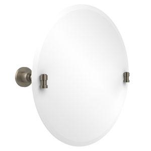 Frameless Round Tilt Mirror with Beveled Edge, Antique Pewter