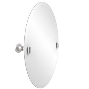 Frameless Oval Tilt Mirror with Beveled Edge, Satin Chrome