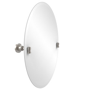 Frameless Oval Tilt Mirror with Beveled Edge, Satin Nickel