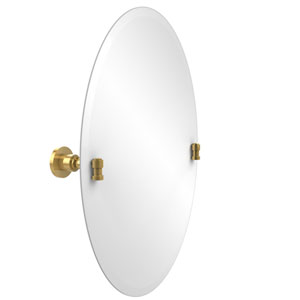 Frameless Oval Tilt Mirror with Beveled Edge, Unlacquered Brass