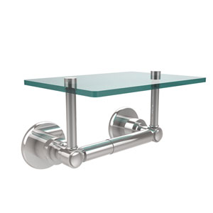 Washington Square Collection Two Post Toilet Tissue Holder with Glass Shelf, Polished Chrome
