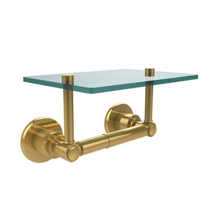 Washington Square Collection Two Post Toilet Tissue Holder with Glass Shelf, Unlacquered Brass